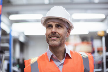Portrait of man in factory hall wearing safety vest and hard hat - DIGF01609