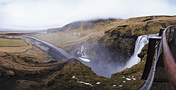Iceland, panoramic view of Skogafoss waterfall from the top - RAEF01775