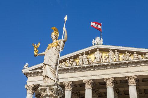 Austria, Vienna, parliament, Statue Pallas Athene, Austrian flag - WDF03929