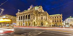 Austria, Vienna, state opera, ring road, tram at night - WDF03947