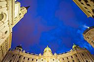 Austria, Vienna, Michaelertrakt, Hofburg, Michaelerkirche at night - WD03953