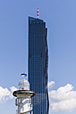 Austria, Vienna, Donauinsel, lighthouse and DC Tower 1 - WDF03959