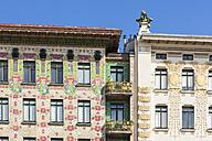 Austria, Vienna, detail of Wienzeilen houses - WD03983