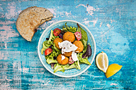 Bowl of mixed salad, tomato, sweet patato Falafel and yoghurt sauce with flat bread - LVF06011