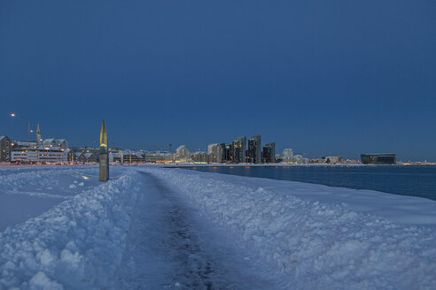 Iceland, Reykjavik, shoreline in winter, early morning light, building on the right hand side Harpa concert hall - MELF00171