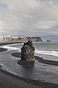 Iceland, Vik, black beach and eastward view  towards Reynisdrangar - MELF00177