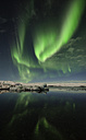 Iceland, Northern lights in Jokulsarlon glacial lake - RAEF01822
