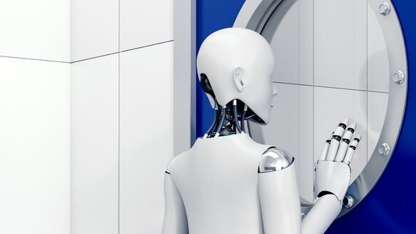 Robot looking through safety door, 3d rendering - AHUF00328