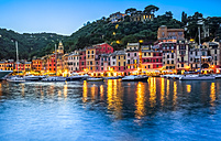 Italy, Liguria, Portofino, boats in harbour at blue hour - PUF00619