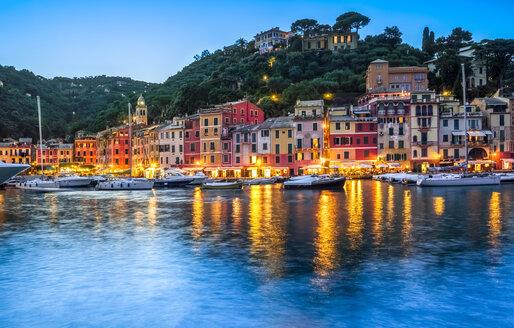 Italy, Liguria, Portofino, boats in harbour at blue hour - PUF00619