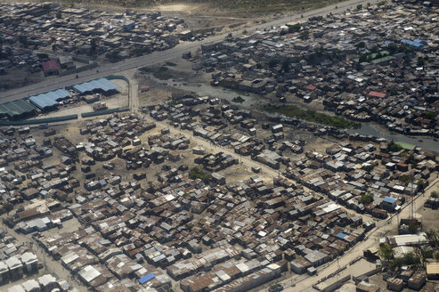 Haiti, Port-au-Prince, Slum of Cite Soleil, arial view - FLKF00799