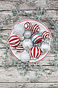 Christmas baubles on plate - LVF06028