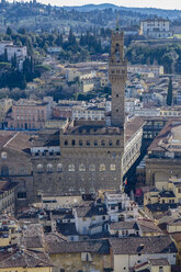 Italy, Florence, Palazzo Vecchio seen from above - LOMF00552