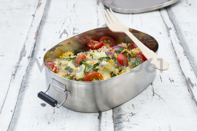 Vegetable Couscous salad in metal box - LVF06037
