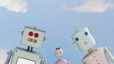 Portrait of robot family outdoors, 3d rendering - UWF01154