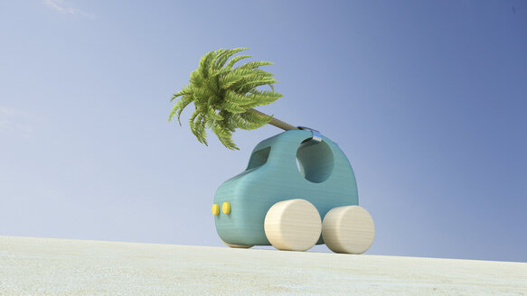 Wooden toy car with palm tree on roof, 3d rendering - UWF01157