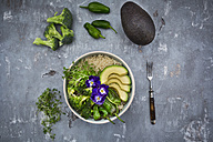 Detox bowl of brokkoli, quinoa, avocado, Pimientos de Padron, cress and pansies - LVF06058