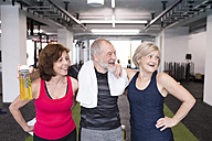 Group of fit seniors in gym taking a break - HAPF01463