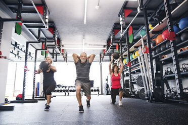 Group of fit seniors in gym exercising with medicine balls - HAPF01478