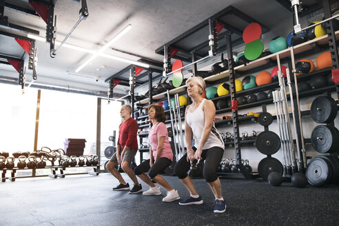 Group of fit seniors in gym working out with kettlebells - HAPF01484