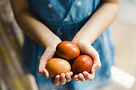 Little girl's hands holding three brown eggs - NMSF00056