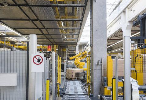 Factory shop floor, conveyor belt and industrial robot - DIGF01795