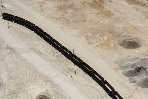 USA, Texas, aerial view of sand mine near San Antonio with unloaded rail cars - BCDF00276