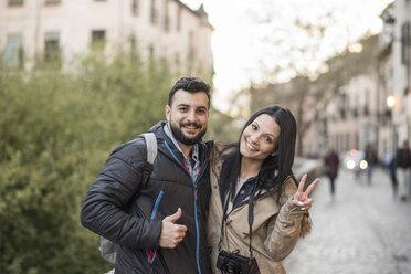 Spain, Granada, portrait of happy couple at Albayzin district - JASF01758