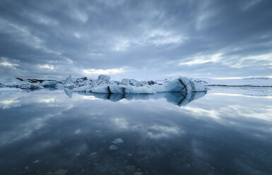 Iceland, Jokulsarlon glacial lake with ice and reflections - RAEF01856