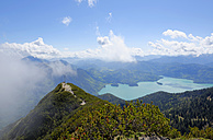 Germany, Bavaria, view on peak of Herzogstand and Lake Walchensee - LHF00524