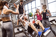 Group of people in gym training weight lifting - HAPF01586