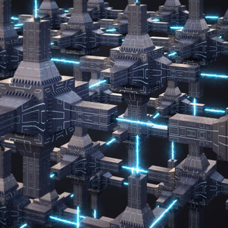 Futuristic energy network, 3d rendering - AHUF00337