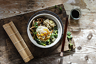 Buddha Bowl of spinach, mushrooms,  noodels and fried egg - EVGF03213