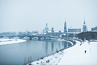 Germany, Dresden, view to the city with Dresden Frauenkirche and Elbe river in winter - ASCF00738