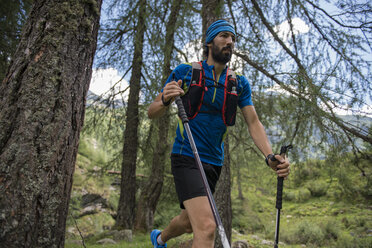 Italy, Alagna, trail runner on the move in forest - ZOCF00262