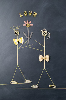 Pasta image with male and female likeness in love - MYF01915