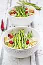 Bowls of vegan Pad thai with mini green asparagus and tofu - LVF06092