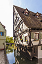 Germany, Ulm, tilted half-timbered house at River Blau - WD04028