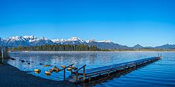 Germany, Bavaria, Allgaeu, Lake Hopfensee in the morning - WGF01080