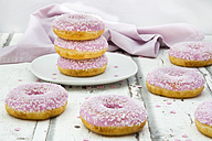 Six doughnuts with pink icing and sugar granules - LVF06109