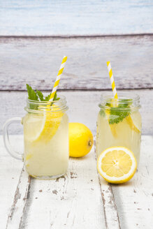 Two glasses of cooled lemonade flavoured with lemon balm - LVF06119