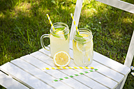 Two glasses of cooled lemonade flavoured with lemon balm - LVF06122