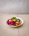 Plate of various vegetables with salmon - KSWF01819