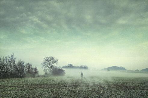 Man on field in fog, composite - DWIF00856