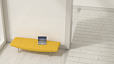 Laptop on yellow lounger, 3D Rendering - UWF01192