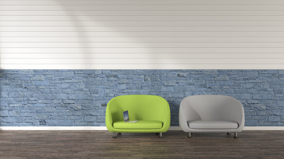 Two loungers and a laptop, 3D Rendering - UWF01195