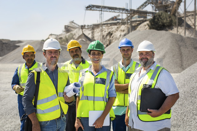 Team of quarry workers looking at camera, looking confindent - ZEF13764