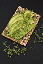 Crispbread with seeds, avocado slices and cress - ODF01511