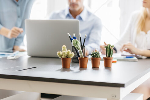 Cactusses on desk with business people working in background - JRFF01392