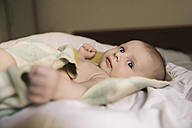 Portrait of baby boy lying on bed - MFF03593